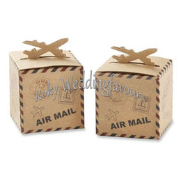 "Wholesale Wedding Mail Box - FREE SHIPPING 100PCS Airplane Kraft Favor Boxes ""Air Mail"" Candy Boxes Party Favors Wedding Table Reception Ideas (6cmx6cmx6cm)"