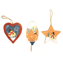 Wholesale Christmas Trees For Cheap - cheap Christmas ornament 6pcs wood craft Santa Claus snowman tree hanging decoration for home let it show <$18 no tracking
