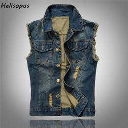 Wholesale Man Vest Korean - 2018 Korean Spring New Style Men's Jeans Hollow out Hole Vest Denim Jacket Slim Fit Sleeveless Hip hop Jeans Male Coat