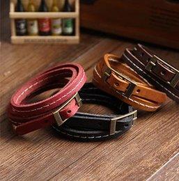 Wholesale Triple Bangle Charm Bracelet - Hot Sale New Special Vintage retro design Handmade genuine cowhide leather multicolor triple layer winding bracelet bangle wristband