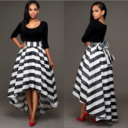 Wholesale Knee Length Mermaid Skirt - Women Black and White Dresses Ankle Length Dress Two-piece Suit Solid Color Long-Sleeved O Neck T-shirt And Striped Skirt