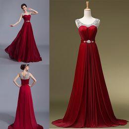 Wholesale Long Dress Import - Vestido de festa Imported Formal Mother of the Bride Burgundy Long Chiffon Beading Rrobe de soiree Evening Dresses 2016 Gown