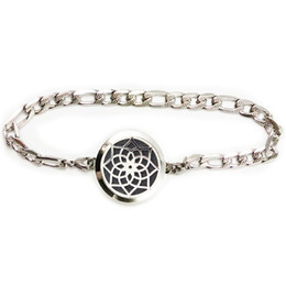 Wholesale Aromatherapy Diffuser Bracelet Sunflower Essential Oil L Stainless Steel Locket Jewelry with Gift Bag and Felt Pads