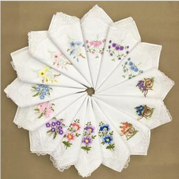 handkerchief gift Coupons - New arrivel 12pcs lots ladies handkerchief embroidery 100% cotton white handkerchief