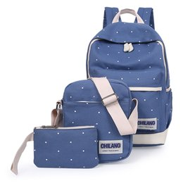 Wholesale Korean Book Bags - 3Pcs Sets Korean Casual Women Backpacks Canvas Book Bags Preppy Style School Back Bags for Teenage Girls Composite Bag mochila