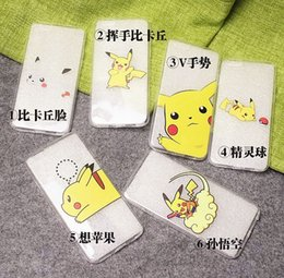 Wholesale Iphone Game Covers - Japanese Anime Cartoon Pocket Monsters Pokemons Go Game Pikachu Design Soft TPU Gel Phone Case Cover For iPhone 5 5S 6 6S Plus