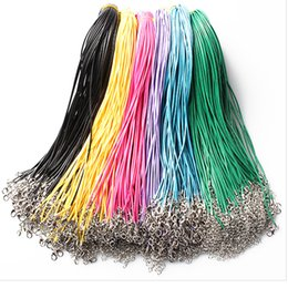 Wholesale leather pendant cords - Wholesale Jewelry Components Necklace multicolors Real Leather 1.5mm Cord Lobster Clasp Fit Pendant jewelry chanin 161211