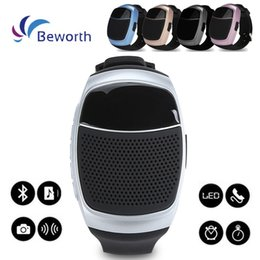 Wholesale Plastic Display Screen - B90 Watch Style Speakers Mini Protable Bluetooth Wireless Speaker Multi-function LED Display Screen Support TF Card VS U8 DZ09 GT08 A1 Watch