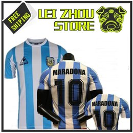 Wholesale Thailand Quality Soccer Jerseys - AAA Retro Version 1986 World Cup Argentina national team home Soccer jersey 10 Messi Maradona CANIGGIA Top Thailand Quality Football Shirts