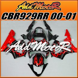 Wholesale Honda Cbr929rr Fairing Red Injection - Five Free Gift!! Addmotor Best Selling Injection Mold Fairings Body Work Fit Honda CBR929RR 2000-2001 CBR929RR 00 01 Red Flames Black H9002