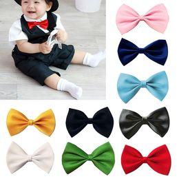 Wholesale Infant Bowtie - Children Kids Boys Toddler Infant Solid Bowtie Pre Tied Wedding Satin Bow Tie