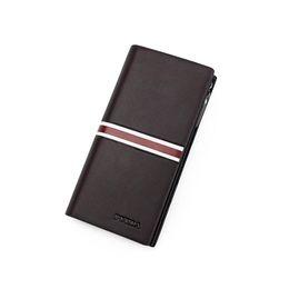 2019 clipe de carteira comprida New Fashion Coin Purses Men's Wallet Long Handbag Solid Zip Casual Mobile Estilo europeu americano simples para homens Carteira de dinheiro Clips clipe de carteira comprida barato