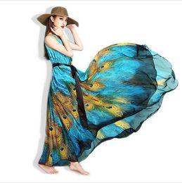 Wholesale Ladies Animal Print Robe - 6XL Summer Maxi Dress Women Chiffon Vestidos de festa Longo Plus Size Large Ladies Long Bohemian dressesPinted Beach Robe