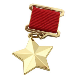 Wholesale Union Pins - WWII USSR CCCP SOVIET UNION GOLD STAR HERO MEDAL BADGE-34048