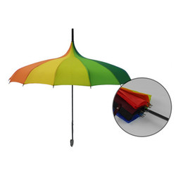 Wholesale Shipping Tube Handle - Free Shipping Rainbow Design Princess Royal Sun Umbrella Lady Pagoda Long-Handled Umbrella Christmas Gift ZA1171