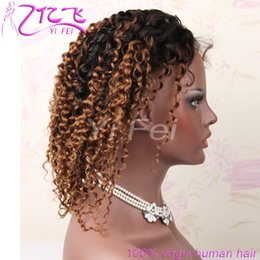 Wholesale Kinky Free Parting Lace Wig - YiFei 130% density Lace Front Human hair Wigs1B 4# Kinky Curly Free Parting Brazilian Non-Remy Natural Color 8-24'' For Black Women