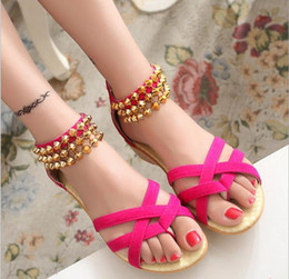 Wholesale Suede Ankle Wrap Sandal - Women Sandals Fashion Bohemia Beade Ankle Strap Flower Summer Shoes Open Toe Flats Heel Female Sandals