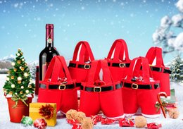 Bolsas de doces de calças de santa on-line-Fashion Christmas Santa Pants Bag Spirit Candy Bags Xmas Decoration Sack Cute Child Gift Home Party Decor 77