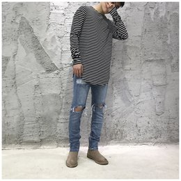 Wholesale Basic White Top - High Street Basic Type Men Women T-shirts Striped Streetwear Skateboard Oversize Crew Neck Fashion Tees Tops