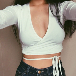 Wholesale V Neck Women Tee White - 2016 Hot Sexy Women Summer Spring Crop Top Tees With Cross Lace Up V Neck Long Sleeves Short Blouse MiniT-shirt for Women Clothing CP0331