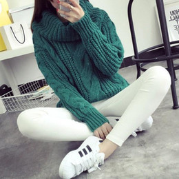 Wholesale Turtleneck Korea Women - Korea Ladies Winter Sweaters and Pullovers Turtleneck Oversized Sweaters Women SolidKorea Loose Thick Warm Knitted Sweater Pull Femme FS0717