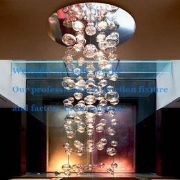 Wholesale Murano Due Bubble Chandelier - Morden Simple Light Bubble Ball Pendant Lamp Muranodue Ether Murano Due Bubble Glass Chandelier Suspension LED Light Custom Size Transparent