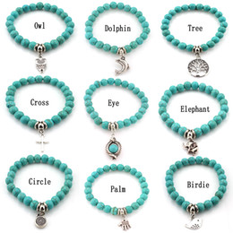 Wholesale Turquoise Cross Beads Wholesale - Fashion Turquoise beads bracelets Tree Owl dolphin Cross palm Charm Bracelets For man women Jewelry Accessories