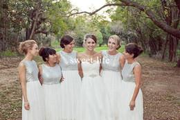 Wholesale Sparkle Chiffon Bridesmaid Dress - Garden Modern Sparkle 2017 A Line Bridesmaid Dresses Jewel Sleeveless Sweep Train Sequins Chiffon Custom Made Bride wedding dresses