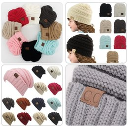 Wholesale knitted hats tags - Hot Girls Boy CC Tags Beanies Winter Knitting Kids Hat Pure Color Hip Hop Skullies Hat DHL