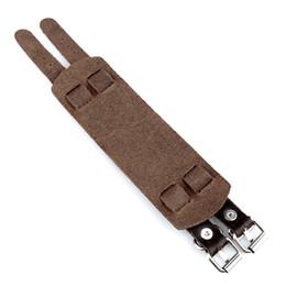 Wholesale Wrist Cuff Punk - Wholesale- Punk Dual Strap Band Leather Buckle Wrist Bracelet Bangle Cuff Link Hand Wrap