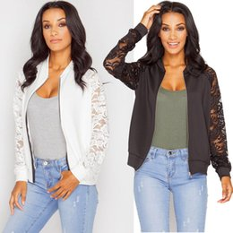 Wholesale Womens Long Jacket Suits - Stylish Womens Ladies Floral Lace Bomber Jacket Vintage Autumn Casual OL Blazer Suit Coat Retro Army Biker Tops New Arrival