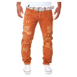 Wholesale Men S Long Cargo Pants - Wholesale-Hot New Arrival Men's Fashion Casual Ripped Long Hole Design Cargo Pants Male Double Waist Decoration Overalls Trousers