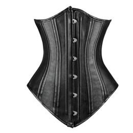 Wholesale Black Corset Steel Boning - Charmian Women's Double Spiral Steel Boned Faux Leather Underbust Corset Body Shapper Waist Trainer Corselet Free Shipping