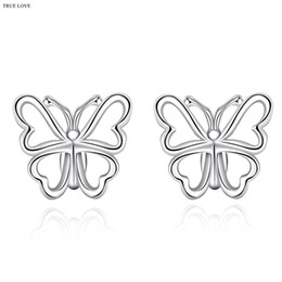 Wholesale Cheap Studs Free Shipping - 925 silver stud earrings butterfly fashion jewelry for women minimalist style charm factory global hot wholesale cheap free shipping