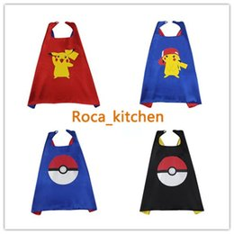 Wholesale Anime Double Size - Halloween Poke Capes Satin Fabric Cute Pikachu Pokeball Cape Double Layer For Kids Halloween Birthday Party Cosplay Custome 4 Styles 70*70cm