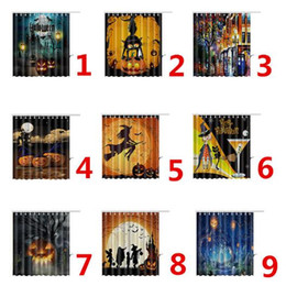 modern shower curtain Promo Codes - 9 Styles 165*180cm Halloween Skull Pumpkin Shower Curtain Waterproof 3D Printed Bathroom Shower Curtain Decoration With Hooks CCA7896 50pcs
