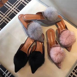 Wholesale Women Beach Shoes Design - 2018 Famous design woman fur flipflops pompom fur balls slides pointed toe mules low heels silk riband fur slippers feather shoe