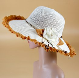 Wholesale Sinamay Wide Brim - Fashion Dress Hat Women Hat Summer Hat Sinamay Hat Church Hat Fabric Lace Bow Hat White Wide Brim Summer Beach Floppy Cap