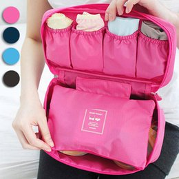 Wholesale Bra Wash Box - Wholesale-Multifunctional Makeup Organizer Travel Portable Bra Underwear Lingerie Storage Box Cosmetic Bag Toiletry Wash Bag