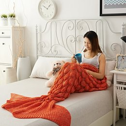 Wholesale Thick Acrylic Blankets - Hot style super mermaid tail blanket extra thick adult acrylic knitted princess fan gift blanket factory direct sales