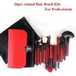 Wholesale Makeup Brushes Kolinsky Hair - 2016 Hot sale professional red color high-end animal hair 26pcs multifunction makeup brush kits wood handle