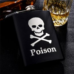 Wholesale Stainless Steel Skull Flask - Wholesale-Personalized Alcohol Flasks 8oz Fashion Skull Design Stainless Steel Mini Hip Flask Camp Outdoor Portable Whiskey Flask