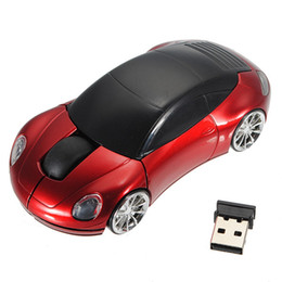Wholesale Mini Car Mouse Optical - New Mini 2.4Ghz 1600DPI 10m Wireless Car Shape Colorful USB LED Optical Mouse Mice For PC Laptop Notebook Free Shipping