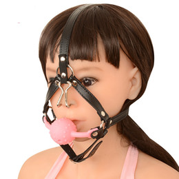 Wholesale Oral Fixation Sex - New Design Leather Open Mouth Ball Gag Harness Restraints Erotic Games Oral Fixation Fetish BDSM Bondage Sex Toys For Couples Sex Products