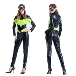 Wholesale Halloween Pole - Halloween batman patent leather outfit conjoined nightclub ds bar pole dancing costumes superwoman spider-man warrior