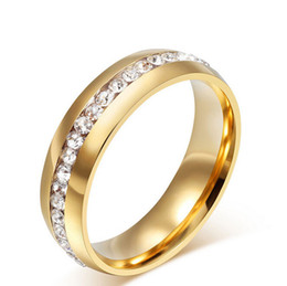 Wholesale 18k Cocktail Ring - 18k Gold Stainless Steel Ring Wedding Cocktail Accessories Fashion Austrian Crystal Rings for women Classic Stainless Steel Jewelry