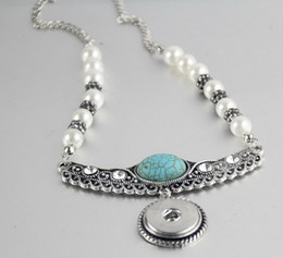 Wholesale 18mm letters - 18MM NOOSA chunks snap button jewelry Alloy bottom button Necklace Turquoise pearl diamond necklace Round Pendant noosa necklace sanps