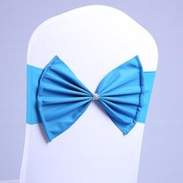 Wholesale Blue Spandex Chair Covers - 11 Colors Wedding Party Banquet Milk Silk Spandex Sashes Bows With Rhinestones For Chair Cover Easy Slip Over Needn't Tie Elastic Fabric Bow