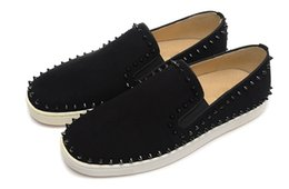 Wholesale Denim Pumps - Luxury Brand Red Bottom Sneakers Suede with Spikes Casual Mens Shoes Black Suede Black Spikes Two Ring Low Foot Shoes Pumps