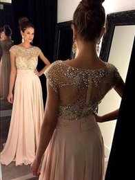 Wholesale Chiffon Stones Gown - 2016 Sexy New Sheer Cap Sleeves Chiffon Prom Dresses Beaded Ruffles Stones Floor Length Evening Gowns BO3714